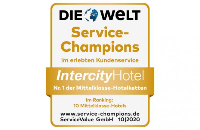 IntercityHotel zum dritten Mal infolge für hervorragenden Service ausgezeichnet